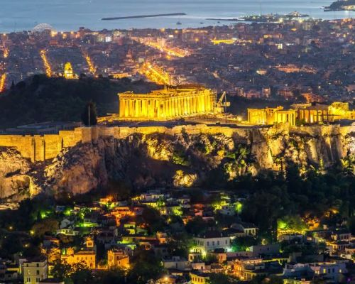 Athens panorama by night