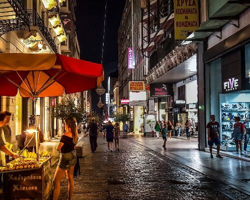 Athens street by night